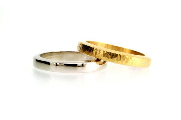 Bevelled Platinum & 18ct Gold Wedding Rings by Robert Feather Jewellery