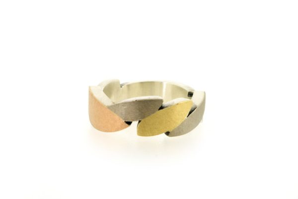Marquise Design Silver & Multi Coloured Gold Rings by Robert Feather Jewellery
