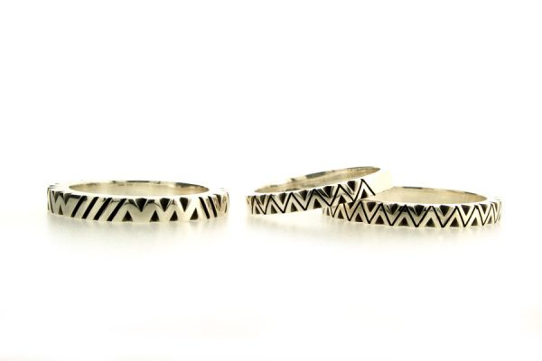 Oxidised Patterned Silver Chevron Rings by Robert Feather Jewellery