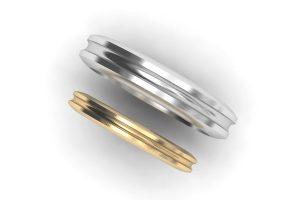 Groove Patterned Palladium & 18ct Gold Wedding Rings by Robert Feather Jewellery