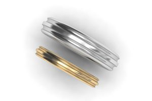 Groove Patterned Platinum & 18ct Gold Wedding Ring Designs by Robert Feather Jewellery