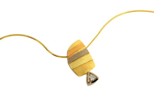 Trillion Diamond 18ct Striped Coloured Gold Necklace : Robert Feather Jewellery
