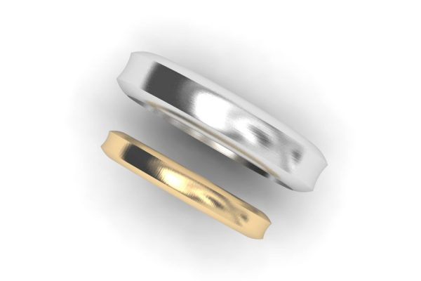 Concave Shaped Platinum & 18ct Gold Wedding Ring Designs by Robert Feather Jewellery