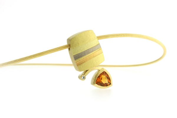 Trillion Citrine & Diamond 18ct Striped Coloured Gold Necklace by Robert Feather Jewellery