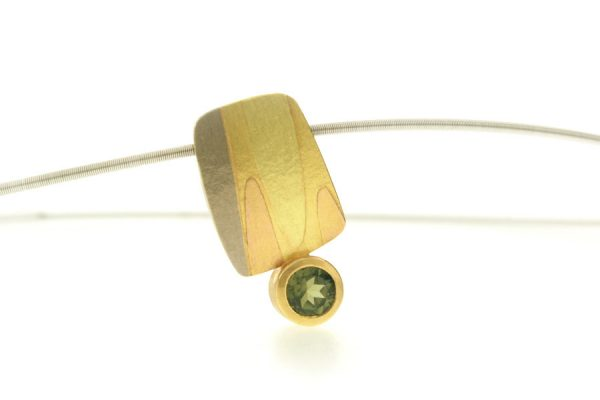Leaf Design Tourmaline 18ct Coloured Gold Necklace by Robert Feather Jewellery