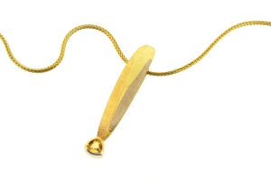Leaf Design Trillion Yellow Sapphire 18ct Coloured Gold Necklace by Robert Feather Jewellery