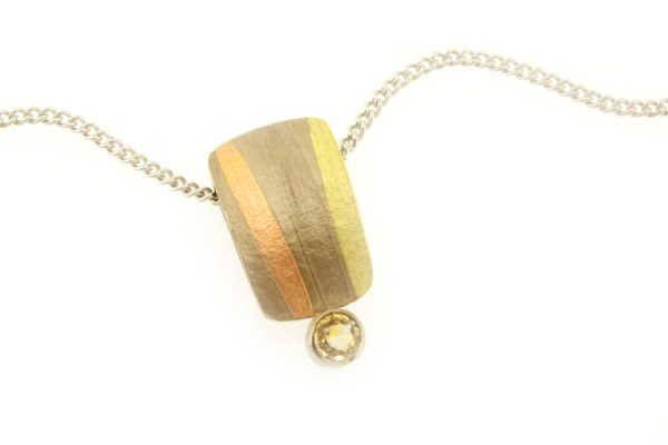 Yellow Sapphire 18ct White Gold Striped Necklace : Robert Feather Jewellery
