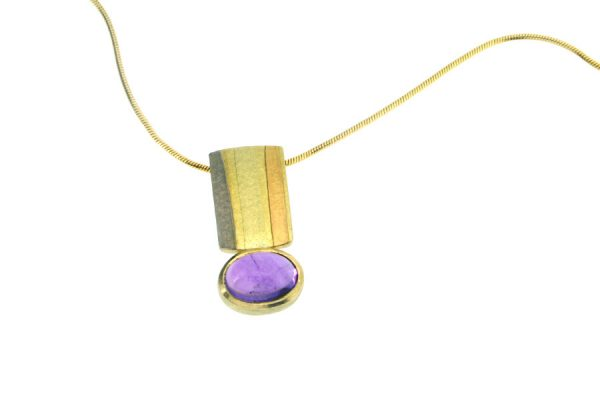Oval Amethyst 18ct Striped Coloured Gold Necklace by Robert Feather Jewellery