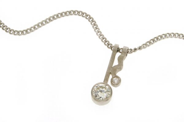 Wiggle Design Diamond 18ct Gold Necklace by Robert Feather Jewellery