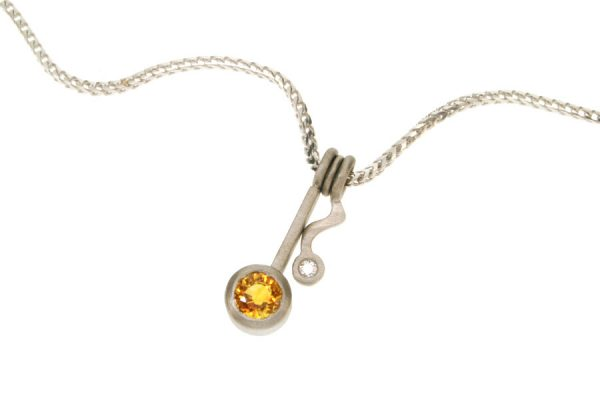 Wiggle Design Sapphire & Diamond 18ct Gold Necklace by Robert Feather Jewellery