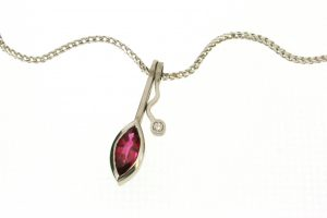 Wiggle Design Marquise Ruby & Diamond 18ct Gold Necklace by Robert Feather Jewellery