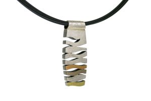 Wave Design Silver & 18ct Coloured Gold Necklace by Robert Feather Jewellery
