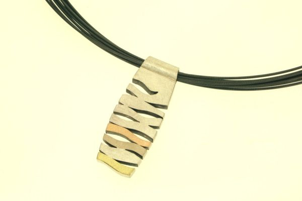 Wave Design Silver & 18ct Coloured Gold Necklace : Robert Feather Jewellery