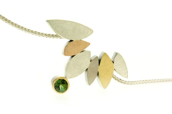 Marquise Design Tourmaline Silver & 18ct Coloured Gold Necklace by Robert Feather Jewellery