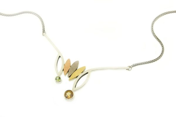 Frame Design Citrine & Peridot Silver & 18ct Coloured Gold Necklace by Robert Feather Jewellery