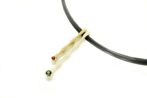 Wave Design Tourmaline & Sapphire Silver & 18ct Gold Necklace by Robert Feather Jewellery