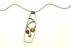 Peridot, Citrine & White Sapphire Silver Necklace : Robert Feather Jewellery