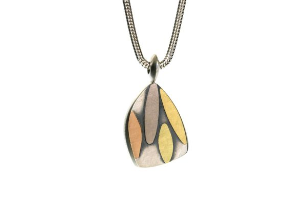 Leaf Design Silver & 18ct Gold Necklace by Robert Feather Jewellery