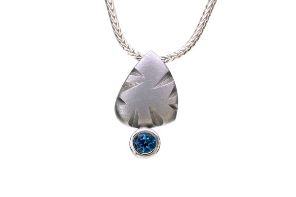 Notch Pattern Silver Blue Topaz Necklace by Robert Feather Jewellery