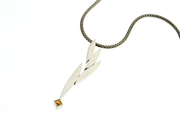 Leaf Design Citrine Silver Necklace by Robert Feather Jewellery