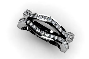 Round Brilliant Cut Diamond Set Platinum Ring by Robert Feather Jewellery