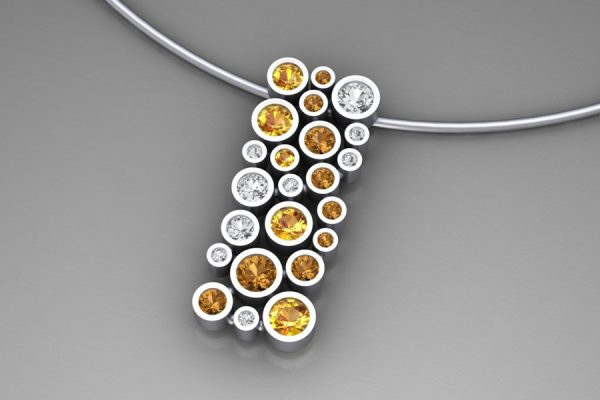 Mixed Coloured Sapphire 18ct White Gold Bubble Necklace Design by Robert Feather Jewellery