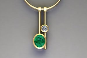 Emerald & Diamond Yellow Gold Two Bar Necklace Design by Robert Feather Jewellery