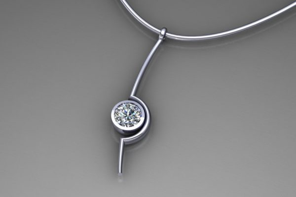 Diamond Platinum Cup Necklace Design by Robert Feather Jewellery