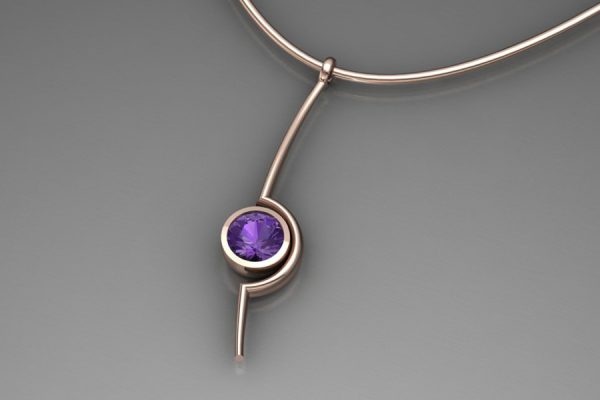 Purple Sapphire Red Gold Cup Necklace Design by Robert Feather Jewellery