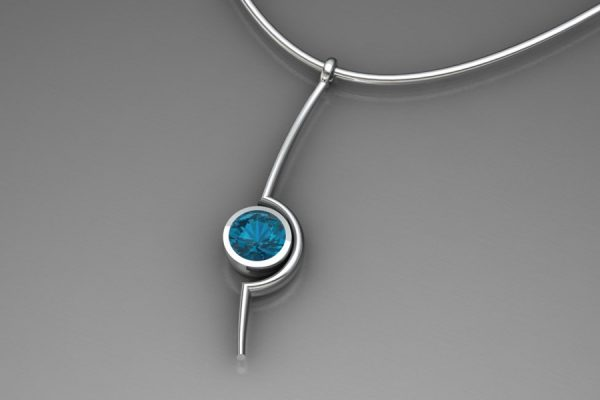 Blue Topaz Silver Cup Necklace Design by Robert Feather Jewellery