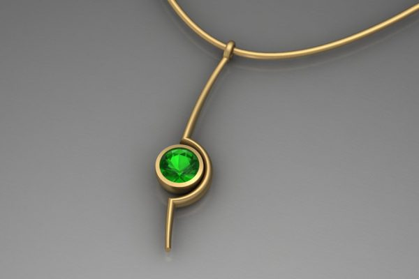 Tsavorite Yellow Gold Cup Necklace Design by Robert Feather Jewellery