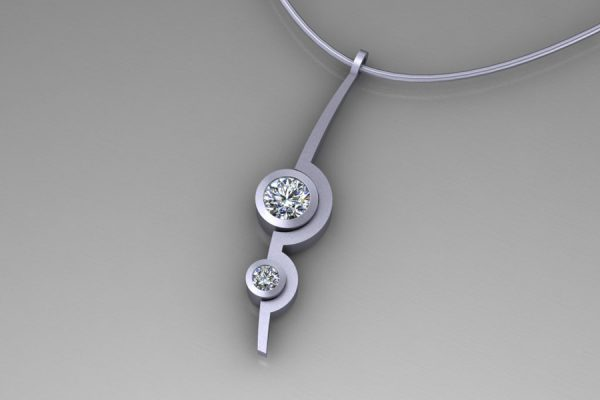 Diamond Platinum Two Cup Necklace Design by Robert Feather Jewellery