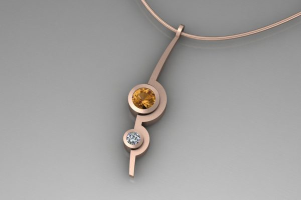 Orange Sapphire & Diamond Red Gold Two Cup Necklace Design by Robert Feather Jewellery