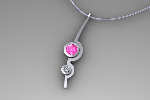 Pink Sapphire & Diamond White Gold Two Cup Necklace Design by Robert Feather Jewellery