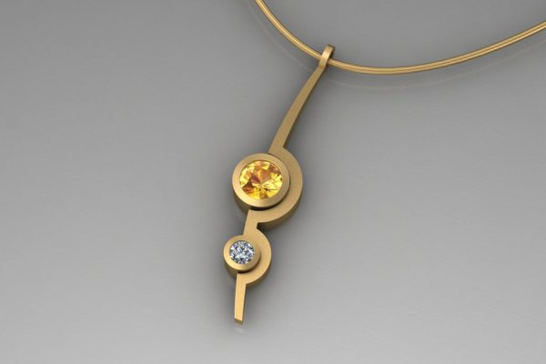 Sapphire & Diamond 18ct Yellow Gold Two Cup Necklace Design by Robert Feather Jewellery