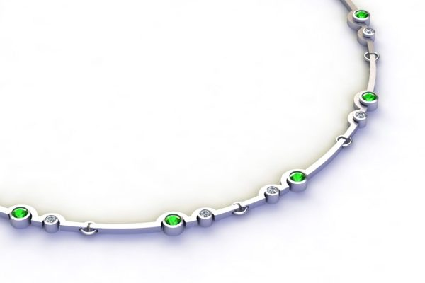 Two Cup Design Tsavorite & Diamond 18ct White Gold Necklace by Robert Feather Jewellery