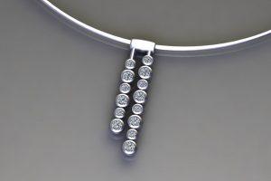 Diamond Platinum Droplet Necklace Design by Robert Feather Jewellery