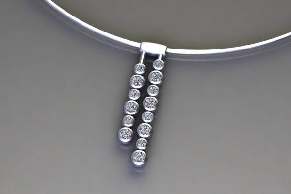 Diamond Platinum Droplet Necklace Design by Robert Feather Jewellery