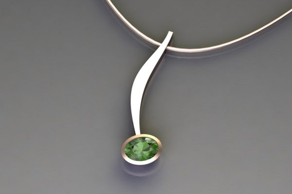 Oval Green Tourmaline Red Gold Curved Bar Necklace Design by Robert Feather Jewellery