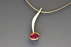 Oval Ruby 18ct Yellow Gold Curved Bar Necklace Design by Robert Feather Jewellery