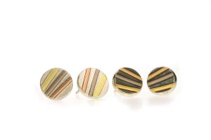 Striped Silver & 18ct Gold Round Ear Studs by Robert Feather Jewellery