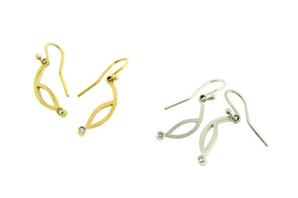 Frame Design 18ct Gold Diamond Earrings by Robert Feather Jewellery