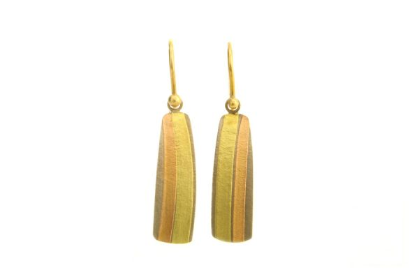 Striped 18ct Gold Earrings : Robert Feather Jewellery