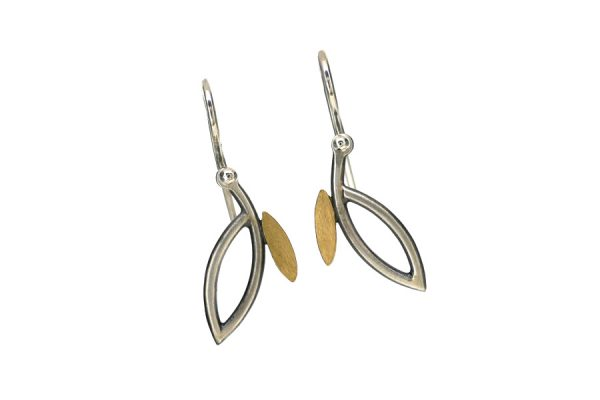 Short Frame Design Silver & 18ct Gold Earrings by Robert Feather Jewellery