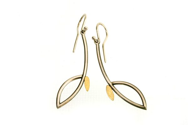 Long Frame Design Silver & 18ct Gold Earrings by Robert Feather Jewellery