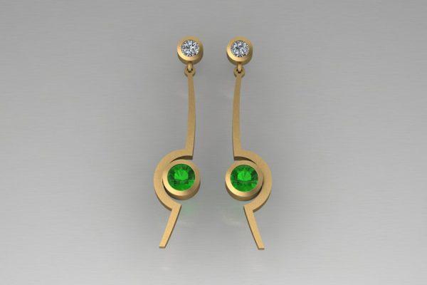 Cup Design Tsavorite & Diamond Yellow Gold Earrings by Robert Feather Jewellery