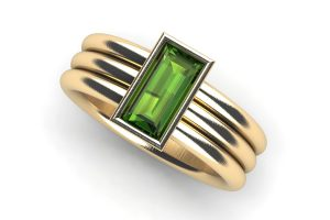 Baguette Cut Green Tourmaline 18ct Yellow Gold Ring Design by Robert Feather Jewellery