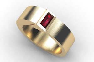 Baguette Cut Ruby 18ct Gold Ring Design by Robert Feather Jewellery