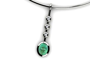 Oval Cabochon Emerald & Diamond 18ct White Gold Necklace by Robert Feather Jewellery