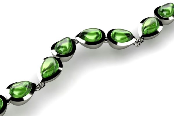 Pear Cabochon Tourmaline 18ct White Gold Bracelet Design by Robert Feather Jewellery